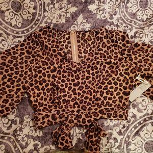 Leopard  Print Crop Top - M